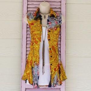 ALBERTO MAKALI Sleeveless Button Up Blouse Floral